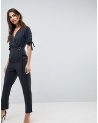 ASOS - Asos Jumpsuit With Wrap Front And D-ring Detail - Lyst