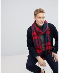 Esprit - Scarf With Red Check - Lyst