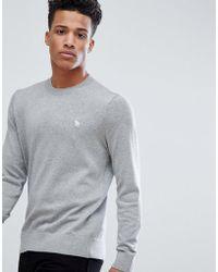Abercrombie & Fitch - Core Icon Moose Logo Crewneck Sweatshirt In Light Gray Marl - Lyst