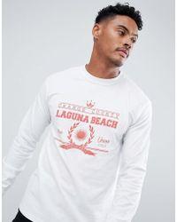 Boohoo - Long Sleeve T-shirt With Laguna Print In White - Lyst