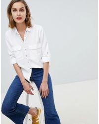 Mango - Pocket Front Shirt In White - Lyst