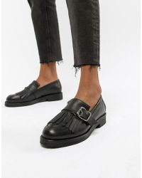 Office - Fisher Chunky Black Leather Fringed Buckle Loafers - Lyst