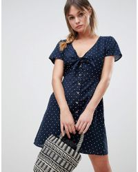 Abercrombie & Fitch - Polka Dot Dress With Knot Front - Lyst