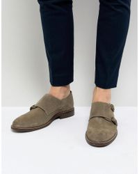 Dune - Monk Shoes In Taupe Suede - Lyst