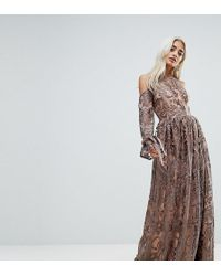 True Decadence - Cold Shoulder Premium Embroidered Maxi Dress - Lyst