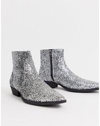 ASOS - Cuban Heel Western Chelsea Boots In Silver Glitter - Lyst
