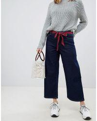 ONLY - Wide Leg Jean With Tie Belt - Lyst