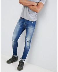 Mennace - Blue Distressed Super-skinny Cordoza Jeans - Lyst