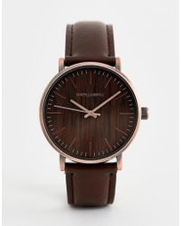 ASOS - Watch With Wood Effect And Brushed Copper Finish - Lyst