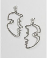 Pieces - Faces Earrings - Lyst