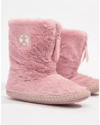 Bedroom Athletics - Marylin Faux Fur Slipper Boot In Pink - Lyst