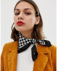 Pieces - Houndstooth Print Scarf - Lyst