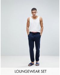 Tommy Hilfiger - Cuffed Joggers Contrast Inner Waistband In Navy - Lyst