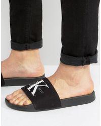 Calvin Klein - Viggo Logo Sliders In Black - Lyst