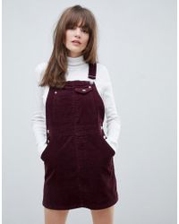 ASOS - Cord Dungaree Dress In Oxblood - Lyst