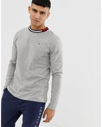 704eacc4a51c6 Tommy Hilfiger - Crew Neck Long Sleeve T-shirt With Contrast Icon Flag Neck  Detail