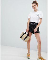 Bershka - Sequin Shorts In Black - Lyst