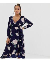 Boohoo - Wrap Midi Dress In Navy Floral - Lyst