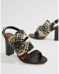 Reiss - Woven Block Heel Sandal - Lyst