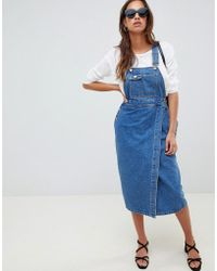 159ee7616c8 Lyst - ASOS Denim Maxi Shirt Dress In Light Blue Wash in Blue