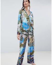 ASOS - Design Tropical Border Print Satin Pyjama Set - Lyst