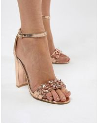 6474dd7a8318 True Decadence Silver Metallic Ankle Tie Heeled Sandals in Metallic ...