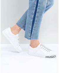HUGO - Low-top Trainers In Italian Leather With Statement Logo - Lyst