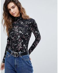 Warehouse - Floral Print Polo Neck Top - Lyst