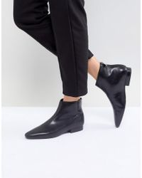 Mango - Leather Flat Pointed Toe Ankle Boot - Lyst