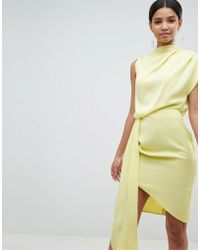 ASOS - Design Satin Drape Midi Dress With Sash Detail - Lyst