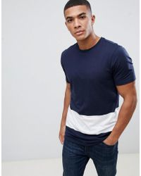 New Look - Colour Block T-shirt In Navy And White - Lyst