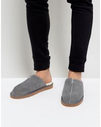 Dunlop Slip On Suede Slippers - Gray