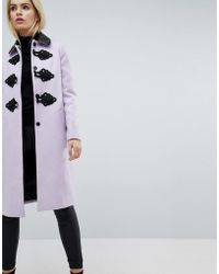ASOS - Slim Coat With Contrast Frogging - Lyst