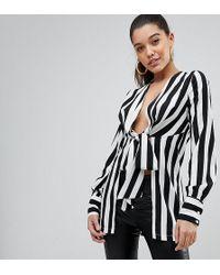 PrettyLittleThing - Stripe Tie Front Blouse - Lyst