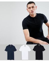 ASOS - Muscle Fit Polo In Jersey 3 Pack Save - Lyst