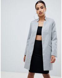 Missguided - Longline Coat In Grey - Lyst