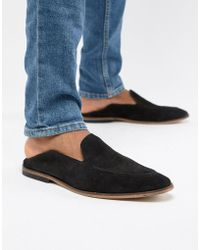 ASOS - Design Loafers In Black Suede With Collapsable Back - Lyst