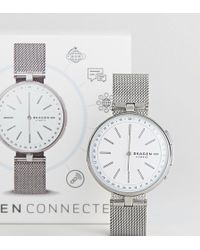 Skagen - Connected Skt1400 Signatur Mesh Hybrid Smart Watch In Silver - Lyst