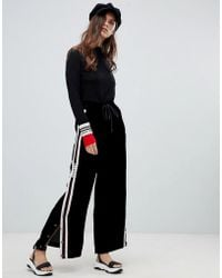 Miss Sixty - Wide Leg Pants With Popper And Seam Detail - Lyst