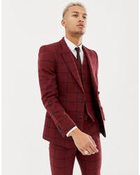 ASOS - Wedding Skinny Suit Jacket In Burgundy Wool Mix Check - Lyst