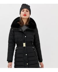Esprit - Mid Padded Jacket With Faux Fur Hood In Black - Lyst