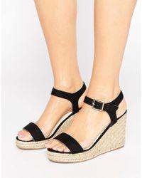 Pieces - Halloumi Black Espadrille Wedge Sandals - Lyst