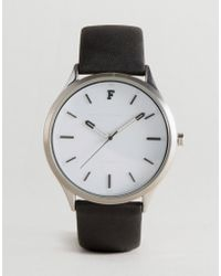 French Connection - Watch With Black Leather Strap - Lyst