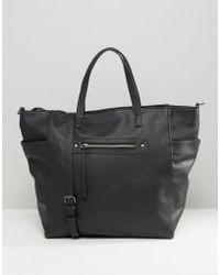 Pieces - Zip Detail Tote Bag - Lyst