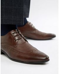 New Look - Brogue With Embossed Detail In Dark Brown - Lyst