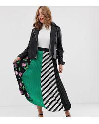 Simply Be Pleated Midi Skirt In Mixed Print