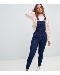 New Look - Skinny Fit Dungarees In Blue - Lyst