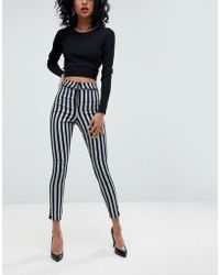 ASOS - Rivington High Waist Denim jeggings With Exposed Zips In Stripe - Lyst