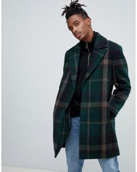 ASOS - Wool Mix Overcoat With Peak Lapel In Green Check - Lyst