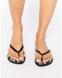 Billabong - Black Patterned Flip Flops - Lyst